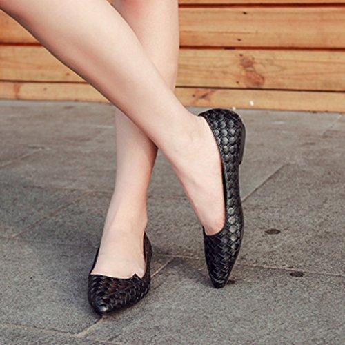 Giy Donna Mocassini Con Punta Piatta Mocassino Piatto Slip-on Comfort Classico Balletto Grigliato Mocassino Scarpa Nera