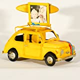 EliteTreasures Retro Metal Collectible 500 Car Model & Photo Frame - Folding Photo Frame Surfboard On Roof - Beach Decor - Industrial Decorative Collectible Figurine