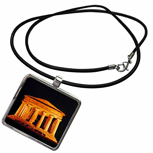 (3dRose Danita Delimont - Temples - Italy, Sicily, Agrigento, Temple of Concord Ruins - EU16 RER0006 - RIC Ergenbright - Necklace with Rectangle Pendant (ncl_82176_1))