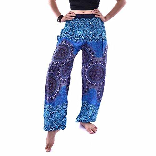 Pajama Trousers (Litetao Men Women Thai Harem Trousers Festival Hippy Smock Performance Yoga Pants Clearance (Free Size, Blue A))