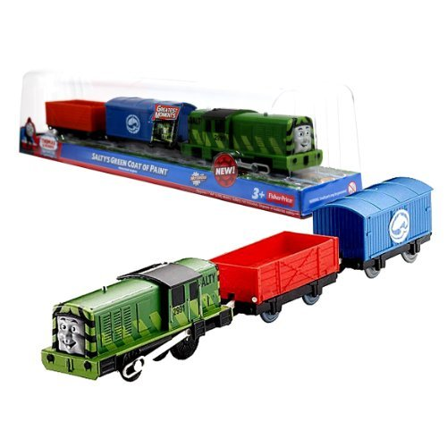 (Fisher Price Year 2012 Thomas and Friends Greatest Moments Series Trackmaster Motorized Railway Battery Powered Tank Engine 3 Pack Train Set - SALTY'S GREEN COAT OF PAINT with Salty Green Engine, Blue Fish Van and Red Truck)