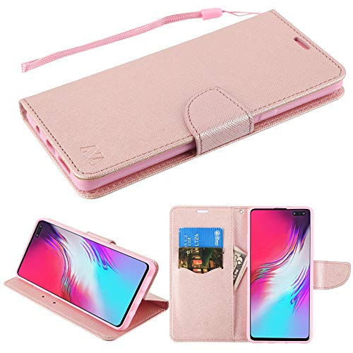- Case+Stylus, PU Leather Fits Samsung Galaxy S10 5G MYBAT Pink Rose Gold Pattern/Rose Gold Liner Crossgrain Fabric Wallet with Strap and Flap