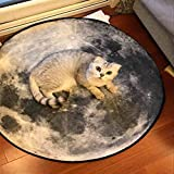 Rug WAN SAN QIAN- Creative Round Living Room Carpet Fashion Round Carpet Home Carpet Bedside Blanket Carpet Bedroom Animal (Color : 120x120cm)