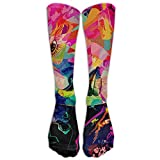 Colorful Woman Abstract Design Print Athletic Tube Stockings Women's Men's Classics Knee High Socks Sport Long Sock One Size