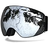 Baby-go BENICE Professional Ski Goggles Double lens Anti-fog UV Protection Big Ski Glasses Skiing Snowboard Snow Goggles For Men Women (Adult Silver, Adult)