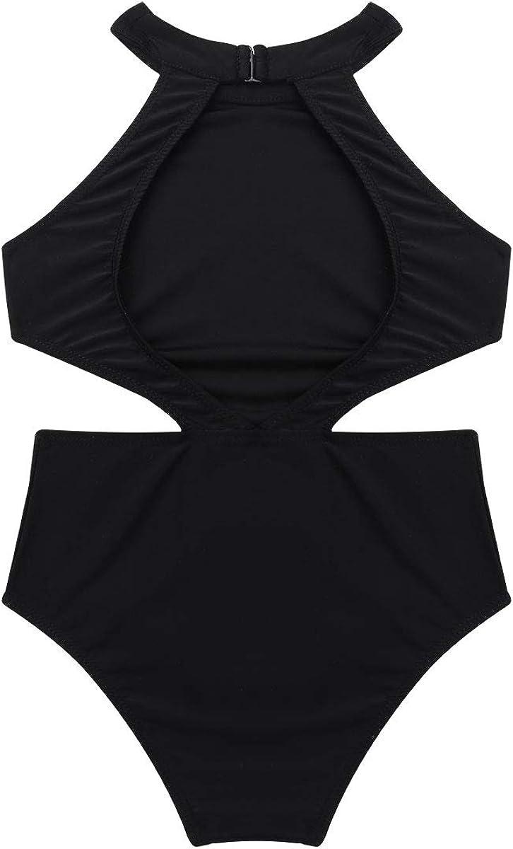 Hansber Kids Girls Ballet Dance Leotard Sleeveless Halter Neck Cutouts on Waist Backless Bodysuit