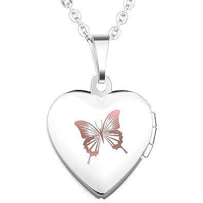 Infinite U Open Heart Titanium Women Photo Locket Pendant/Necklace (Enable to Engrave Words) Silver yLg71H1e2x