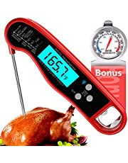 Meat Thermometer, Instant Read Food Thermometer for Cooking, Waterproof Digital Kitchen Thermometer with Backlight, Ultra Fast Cooking Thermometer Long Probe for Grilling BBQ, Extra Oven Thermometer