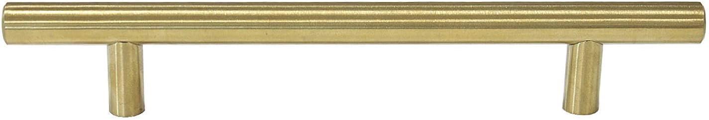 WOMAO 10 St/ücke Edelstahl Geb/ürstet Gold Dekorativ Rostfrei M/öbelgriff M/öbelkn/öpfe f/ür Schrank Schublade T Bar Form Kn/öpfe Ziehen Griffe Golden Bohrlochabstand 96mm Gesamtl/änge 150mm
