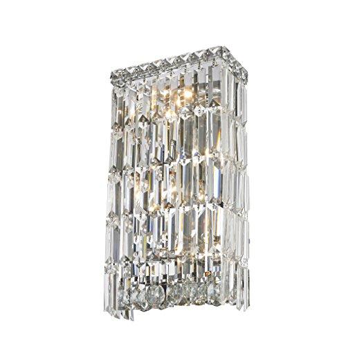 Sconce Crystal Bellacor (Worldwide Lighting W23522C8 Cascade 4 Light Rectangular Crystal Wall Sconce, Chrome Finish and Clear Crystal, ADA Compliant, 8