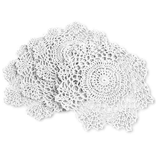- gracebuy Pack of 4PCS White 7 Inch Round Handmade Crochet Lace Placemats Coasters
