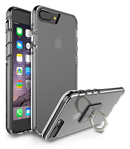 iPhone 7 Plus Case, Style4U Scratch Resistant Shock Absorbent Ultra Slim Crystal Clear Back TPU Bumper Glow In The Dark Case Cover for Apple iPhone 7 Plus with 1 Style4U Ring Holder Kickstand [Black]
