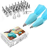 : Cake Decorating Supplies Icing Piping Tips - 38-Piece Stainless Steel Frosting Kit - 2 Sizes Reusable Pastry Bags, Flowers Nails, Couplers, and A Storage Box - Baking Tools Supply - by Utopia Kitchen