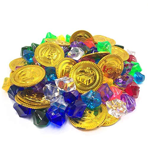 DLUcraft Pirate Toys Gold Coin & Colorful Acrylic Diamond Crystals Gems Jewels for Table Scatters, Vase Fillers,Party, Birthday Decoration Pirate Treasure Treasure Box Prizes 120Pcs (20Coins+100Gems)