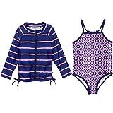 Best SwimZip Bathing suits - SwimZip Little Girl Zipper Long Sleeve Blue Rash Review
