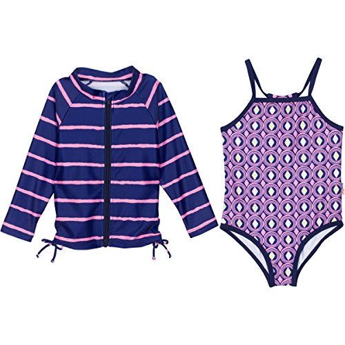 SwimZip Little Girl Zipper Long Sleeve Blue Rash Guard 2 Piece Swimsuit Set Diamonds (One Piece Bathing Suit) 5T