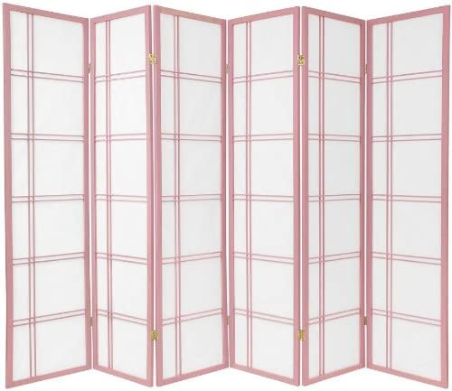 ORIENTAL Furniture 6-Feet Double Cross Japanese Shoji Folding Privacy Screen Room Divider, 6 Panel Pink