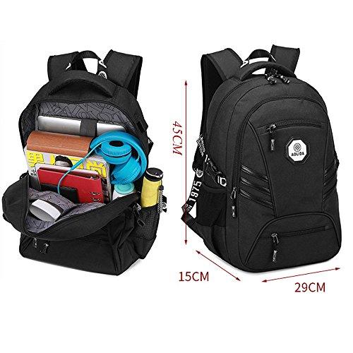Wasserdicht Oxford Laptop Backpacks Rucksäcke mit USB Ladeanschluss 15.6, Große Kapazität Business Aktentasche Notebook Computer Rucksack Lässige Daypacks Uni Schultasche Wanderntasche (Grau) Blau
