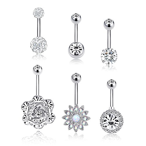 (Tornito 5-6PCS 14G Stainless Steel Belly Button Rings CZ Navel Rings for Women Girls Barbell Dangle Body Piercing Jewelry Silver Rose Gold Tone (C:6Pcs, Silver Tone))