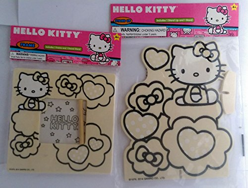 Hello Kitty Wood Craft Kits One Hello Kitty Stand Up and One Hello Kitty Picture Frame (Pack of 2)