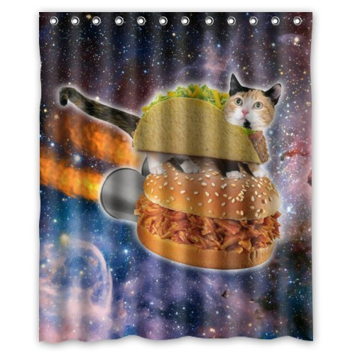 "(60"" x 72"" ) Waterproof Bathroom Space Cat Shower Curtain by Space Cat Shower Curtain"