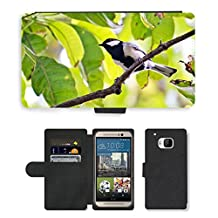 Hello-Mobile Flip PU Leather Wallet Case with Credit Card Slots // M00136542 Great Tit Tiny Bird Active Bird // HTC One M9