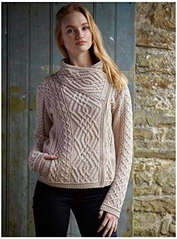 Large West End Knitwear 1 Irish Zopfmuster Merinowolle mit seitlichem Rei/ßverschluss-Jacke