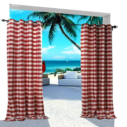 Extra Wide Gingham Plaid Outdoor Curtain 200' W x 96' L Eyelet Grommet for Traverse Rod at Front Porch Pergola Cabana Covered Patio Gazebo Dock and Beach Home White RED