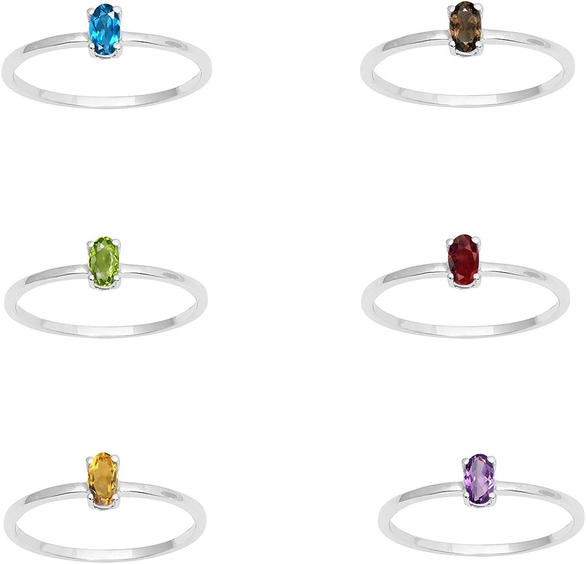 Shine Jewel Topacio Azul, poridot, Citrino, Ahumado, Granate, Amatista Piedra Solitario Mujeres Anillo Combinado 925 Joyas de Plata