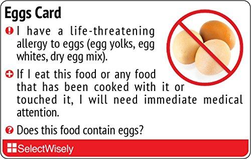 Egg Allergy Translation Card - Translated in Thai or any of 30 languages by SelectWisely