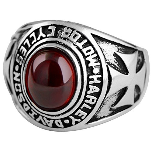 MetJakt Real 925 Sterling Silver Garnet Vintage Ring with Hand Carved Crusader Flowers Pattern Rings for Unisex Fine Jewelry (11.5)