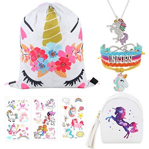 (7 PCs Unicorn Gifts for Girls Unicorn Drawstring Bag Coin Purse Unicorn jewelry Set Rainbow Bracelet Necklace Tattoo Sticker Unicorn Party Favors Gifts for Kids (A-White))