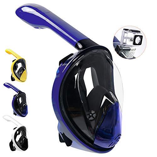 (SCULLA Full Face Snorkel Mask 180° Sight Panoramic Dry Snorkeling Mask for Adults[Anti-Fog,Anti-Leak;GoPro Mount,Drainage Valve,High Tenacity PC] (S/M,Purple))