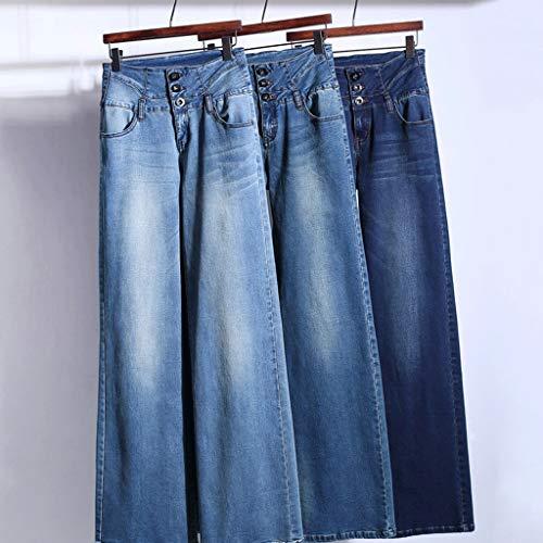 Mujeres Straight Cintura Para Rxf De Jeans Pierna 2 Ancha Alta Pantalones xwAwzfYqHI