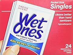 ace it, wherever you go, dirt & germs are already there. With Wet Ones Antibacterial Hand Wipe Travel Packs and pocket-sized Singles along for the ride, dirt and bacteria doesn't stand a chance. Wet Ones wipes kill 99.99% of bacteria, but...