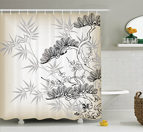Ambesonne Japanese Decor Collection, Asian Style Bamboo Birch and Flower Twiggy Petals Pine Silhouettes Floral Pattern Art, Polyester Fabric Bathroom Shower Curtain Set with Hooks, Ecru Black