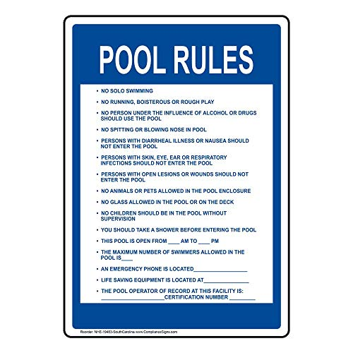 (South Carolina Pool Rules Sign, 20x14 in. Aluminum for Recreation by ComplianceSigns)