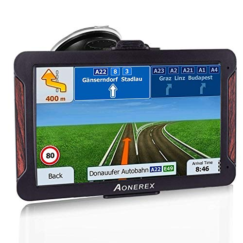 SAT NAV, Aonerex GPS Navigation System 7 inch Touch Screen Pre-Installed Latest Europe UK Ireland Maps + Free Lifetime…