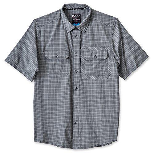 Beige Logo Jacquard - KAVU Men's First Class Button Down Shirts, Smoked Pearl, Large