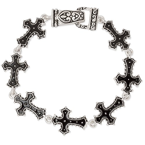 Fold Over Magnetic Clasp (Black Enamel Cross Bracelet Fold Over Magnetic Clasp Silver Tone)