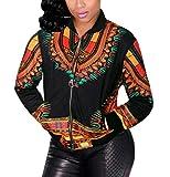 Sheng Xi Women's Painting Plus-Size Zipper Closure Fashionable African Dashiki Sexy Wrap Coat Bomber Jacket Pattern3 2XL