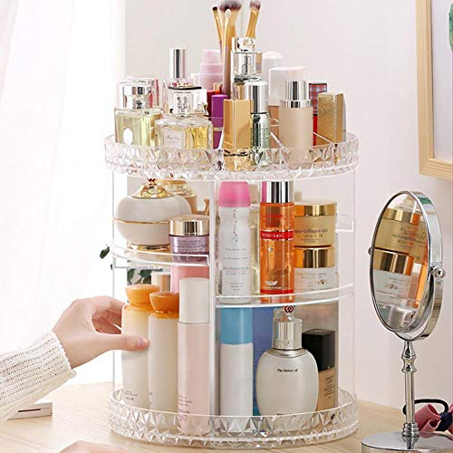 Acrylic Cosmetic Makeup Organizer Storage Box 360° Rotating Cosmetic Transparent Acrylic Swivel Shelf Fits Toner, Creams, Makeup Brushes, Lipsticks