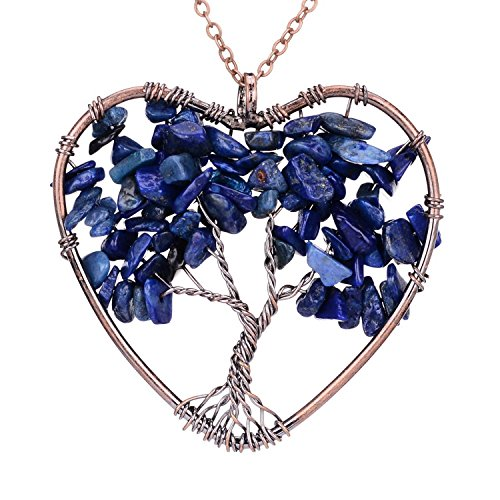 Tree of Life Necklace Wire Wrapped Family Tree Pendant Heart Lapis Lazuli Crystal Birthstone Jewelry