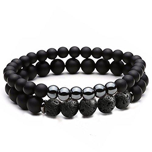 Dolovely 8mm Natural Lava Stone Beads Bracelet Men Women Black Matte Onyx Elastic Stretch Bracelet (Matte Black Stretch)