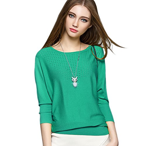CoCo Fasion Women's Bat Sleeve Round Neck Fine - Womens Coco Sweater