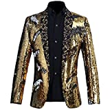 PYJTRL Men Stylish Two Color Conversion Shiny Sequins Blazer Suit Jacket (Gold + Silver, L/42R)