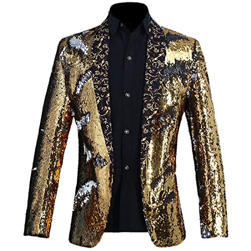 77295eb6 PYJTRL Men Stylish Two Color Conversion Shiny Sequins Blazer Suit Jacket  (Gold + Silver,