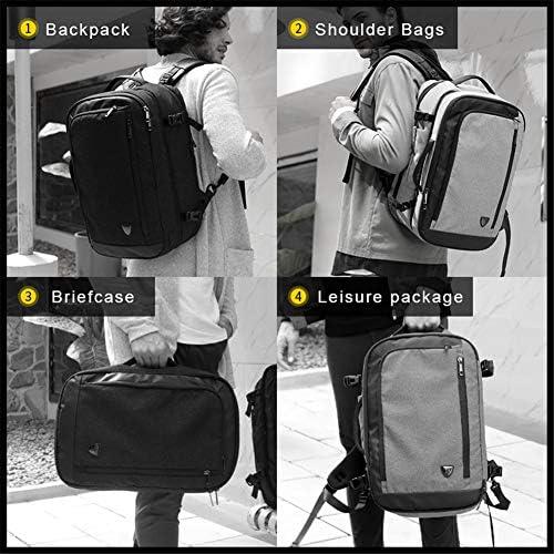 KTSWP multifunción 17 Pulgadas Laptop Mochilas para Hombres Adolescentes Viaje Mochila Bolsa Gran Capacidad Casual Vintage,Grey LdRESaJm