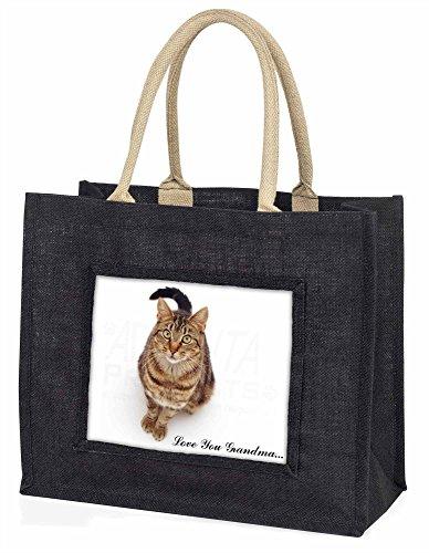 Advanta braun gestromt Cat Love Sie Grandma Große Einkaufstasche/Weihnachtsgeschenk, Jute, schwarz, 42x 34,5x 2cm