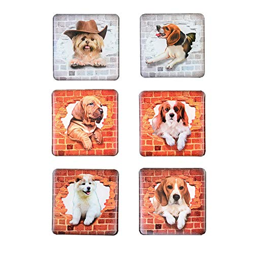 Morcart Refrigerator Magnets Cute Dog Magnets 6-Sets 3D Pattern Square Kids Toys Student Locker Whiteboard Funny Office Dishwasher -